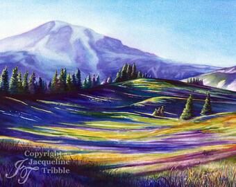 Mount Rainier Watercolor Print, Pacific Northwest Art, PNW, NW Art, Mt Rainier Giclee print, Mountain Watercolor, Jacqueline Tribble