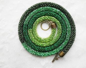 Green Bead Crochet Transformer Lariat Boho Necklace Bead Crochet Rope Long Crochet Rope Necklace Beaded Rope Birthday Gift Ombre Bracelet