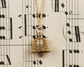 Vintage 1960's Bell with Chime Charm Pendant Necklace 9ct Yellow Gold
