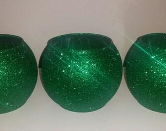 Green vase, bubble vase, glitter vase, green glitter, table centerpiece, Christmas centerpiece, wedding table, Christmas wedding
