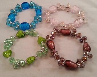 Lampwork Bracelet with Swarvoski Crystals, Swarvoski Crystal Bracelet