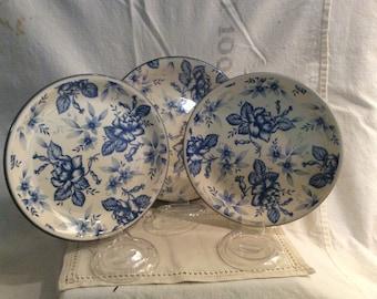Biltons Blue Floral China; Salad Plates & Soup Bowl Biltons, England