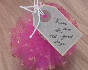 10 mini tulle pom poms with tags, personalised handmade gifts,  decoration, wedding favours, various colours,  keepsakes - based in uk