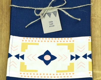 Navy Hemp and Organic Cotton Tea Towel with Aztec Flower