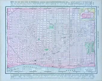 Detroit Map, Antique Detroit, Michigan Map, Original 1899 Atlas Page, Michigan Map on Reverse