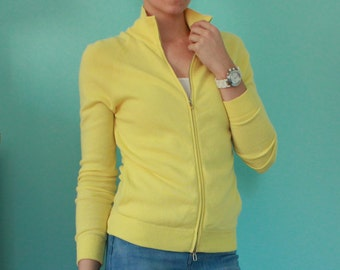 Malo Yellow Cashmere Zip Sweater Size 38