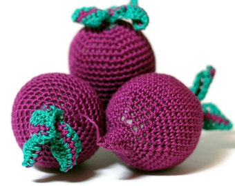 Crochet beet-root Pretend Play Amigurumi food Crochet vegetables Food Veggies Crochet food Play Kitchen food Tactile toy Educational toy