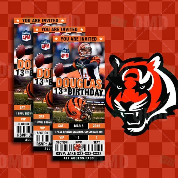 Cincinnati Bengals Sports Party Invitation 2.5x6 By