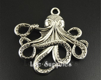 5pcs Antique Silver Alloy Octopus Charms Pendant A1315
