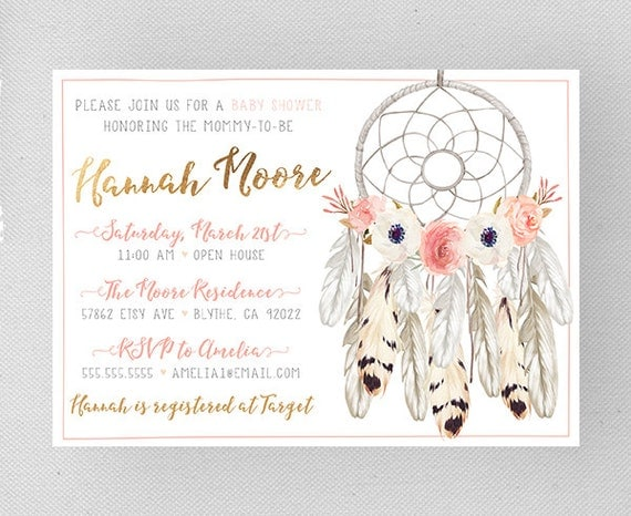 pink and gold baby shower invites girl dreamcatcher feather flower
