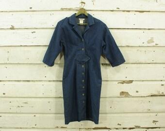 vintage 1980s dark wash denim dress diamond waist S