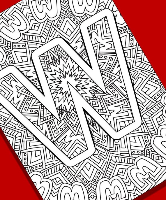 Letter Y Coloring Pages: Alphabet Adult Coloring Pages Instant Download Letter W