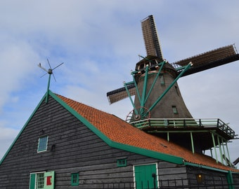 Windmill with Green Trim - The Netherlands