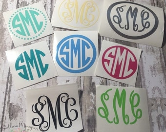 4 INCH Monogram decal, monogram sticker, monogram, vinyl decal, initial monogram, personalized gift, car decal