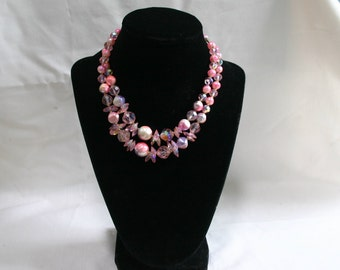 Vintage, double strand, pink necklace.  Beautiful.  Laguna.