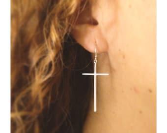 Bill Silver earrings 925 large cross