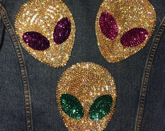 Sequin Large Alien patch - handmade