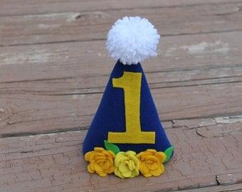 Girl's first birthday hat - Flower first birthday hat