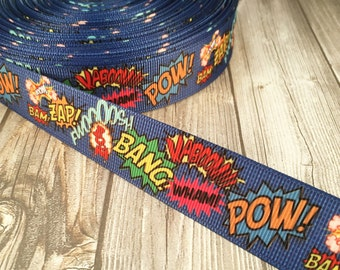 "Comic ribbon - Comic book craft - I love comics - Nerdy ribbon - Blue comic ribbon - 7/8"" Grosgrain ribbon - DIY comic bows - DIY crafts"