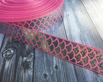 """Mermaid scale ribbon - Be a mermaid - Mermaid ribbon - Pink mermaid - Fish ribbon - Ocean ribbon - Sea life ribbon - 1"""" Grosgran ribbon -"""