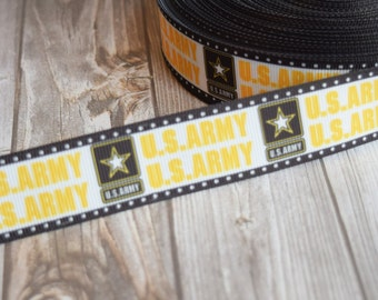 "1"" U.S. Army ribbon - Army strong - Army star - Black and gold - Be all you can be - Army Daddy - 3 or 5 yard lot - Military ribbon - DIY"