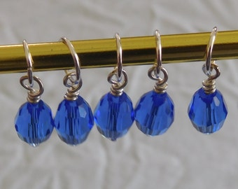Blue Crystal Stitch Markers