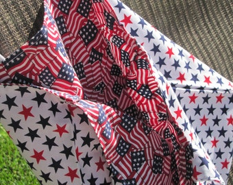 Patriotic Fabric Tote Bag with Red American Flag Lining