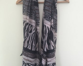 SALE Zebra and Animal Black and Brown Print Women's Scarf
