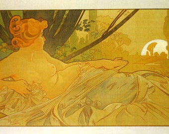 Mucha 1899 Dawn and Dusk Lady Sleeping Left Side By Alphonse Mucha Was a Czech Art Nouveau Painter Vintage Poster Repro FREE SHIPPING in USA