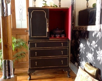Sold --Stunning Vintage Tallboy Chest Of Drawers Drinks Cabinet Solid Wood Annie Sloan Graphite