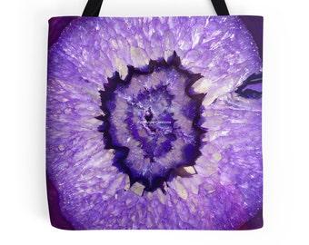 Purple Agate Geode Tote Bag