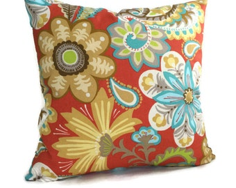 Pillow Cover, Red Pillow, Turquoise Throw Pillow Decorative Cushion Cover P. Kaufmann Floral Cottage Decor French Country Paisley Pillow