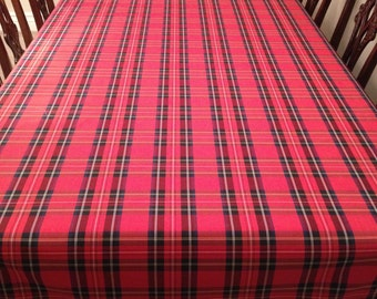 Red Tartan Plaid Tablecloth Christmas Stewart