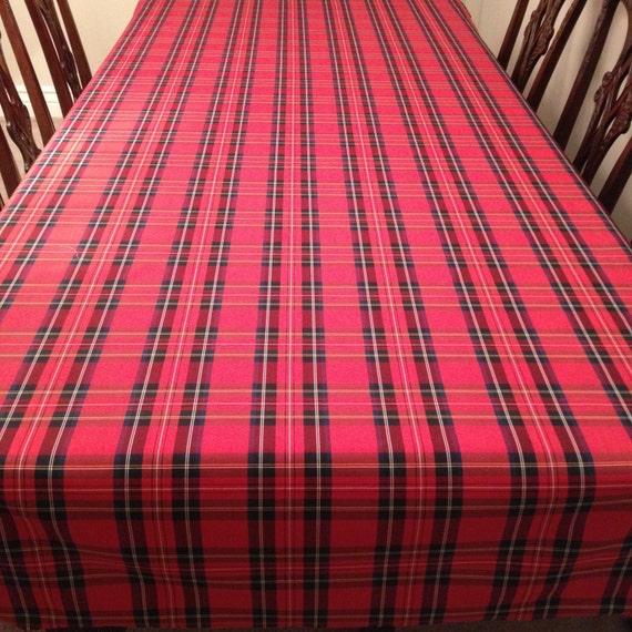 Red Tartan Plaid Tablecloth, Christmas Tablecloth, Christmas Plaid Tablecloth, Stewart Plaid Tablecloth, Holiday Tablecloth, Seasonal Decor