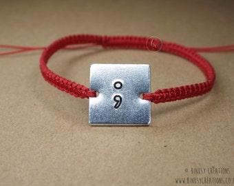 Semicolon macrame hand-stamped bracelet