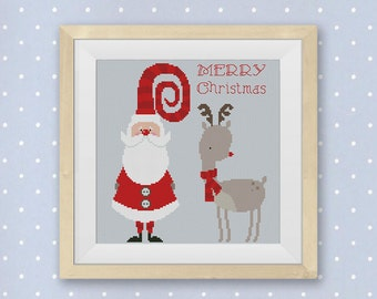 BOGO FREE! Merry Christmas Cross Stitch Pattern, Cute Santa Claus and Christmas Deer cross stitch, Needlework PDF Instant Download #035-5