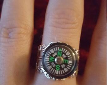 Compass 12mm adjustable filigree ring