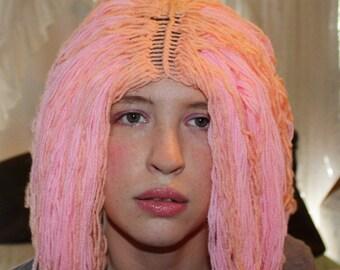 Pink Yarn Wig; Soulder Length