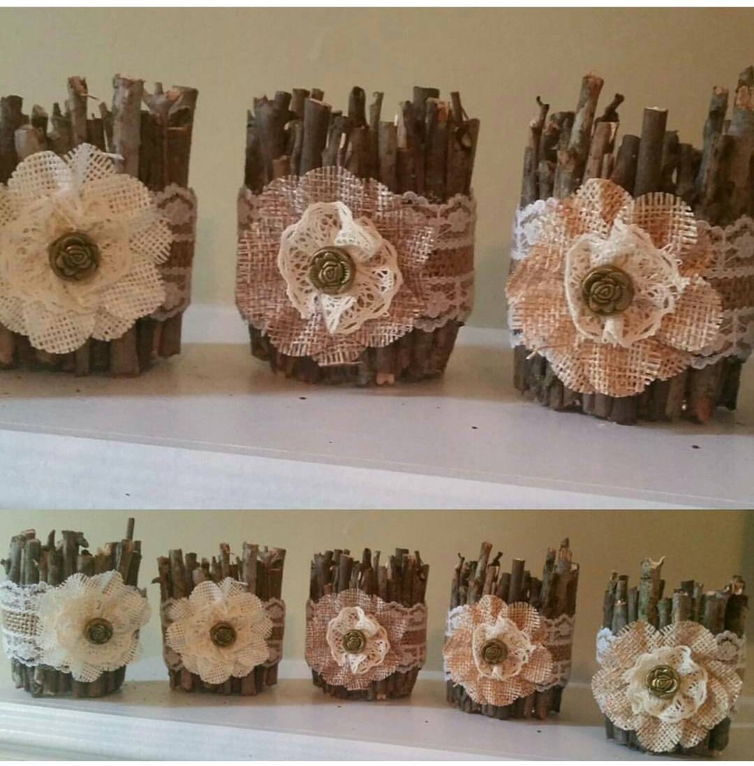 Lace Wedding Decor: Rustic Wedding Decor Burlap And Lace Candle Burlap And Lace