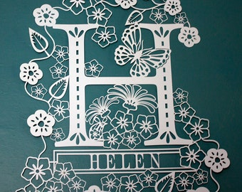 Initial H with Personalised Name Papercut