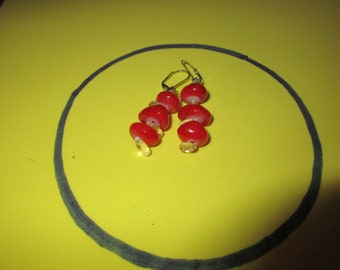 Vibrant Red and Clear Bead dangle earrings
