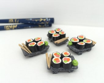 Sushi Plate With Chopsticks And Wasabi For Dollhouses In Polymer Clay