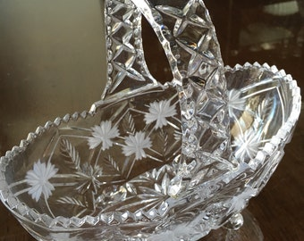 Crystal Four Footed Etched Flowers Glass Basket