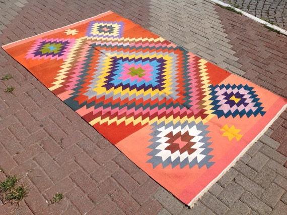"8'9"" X 5'2"" Vintage Turkish rug, rugs, BRIGHT colored area rug,  rug, bohemian rug, eccentric rug, diamond design, orange kilim"
