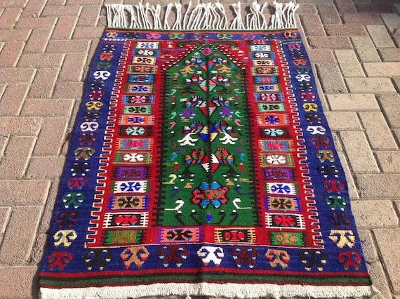 navy blue and red vintage turkish kilim rug 49 x. Black Bedroom Furniture Sets. Home Design Ideas