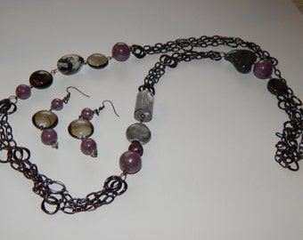 Gunmetal and purple multi-chain necklace and earring set