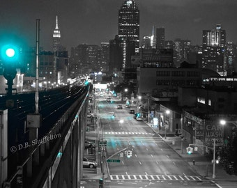 Queens Boulevard & Subway Tracks at Night, Queens, New York
