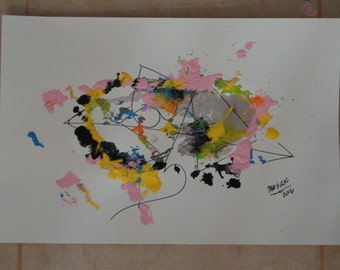 """cat who paints! painting- """"Catty Abstract #2"""""""