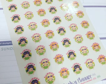 46 Small Swimming planner stickers girls (mixed genders in shop) great for all planners vertical , filofax , happy planner etc