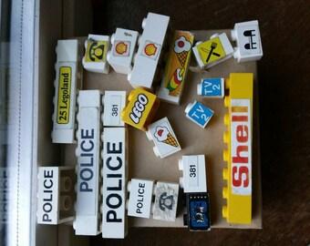 Vintage lego bricks with stickers